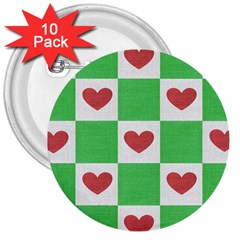 Fabric Texture Hearts Checkerboard 3  Buttons (10 pack)