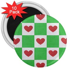 Fabric Texture Hearts Checkerboard 3  Magnets (10 pack)