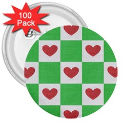 Fabric Texture Hearts Checkerboard 3  Buttons (100 pack)