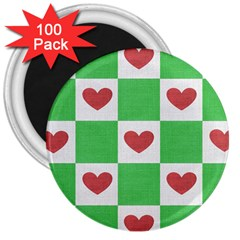 Fabric Texture Hearts Checkerboard 3  Magnets (100 Pack)