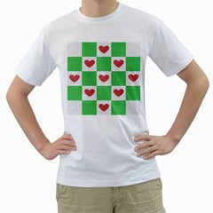 Fabric Texture Hearts Checkerboard Men s T-Shirt (White) (Two Sided)