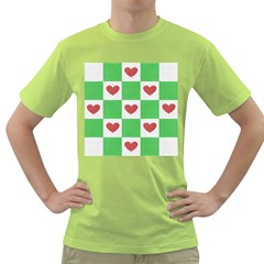 Fabric Texture Hearts Checkerboard Green T Shirt