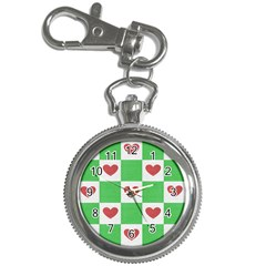 Fabric Texture Hearts Checkerboard Key Chain Watches