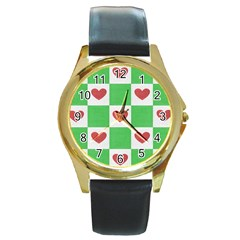 Fabric Texture Hearts Checkerboard Round Gold Metal Watch