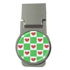 Fabric Texture Hearts Checkerboard Money Clips (Round)