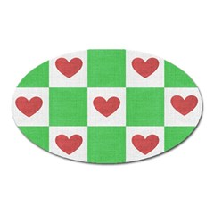 Fabric Texture Hearts Checkerboard Oval Magnet
