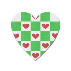 Fabric Texture Hearts Checkerboard Heart Magnet