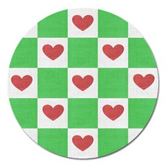 Fabric Texture Hearts Checkerboard Magnet 5  (Round)