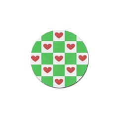 Fabric Texture Hearts Checkerboard Golf Ball Marker