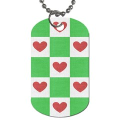 Fabric Texture Hearts Checkerboard Dog Tag (Two Sides)