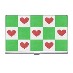 Fabric Texture Hearts Checkerboard Business Card Holders