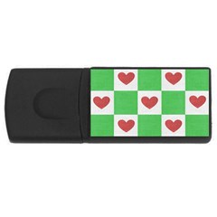 Fabric Texture Hearts Checkerboard USB Flash Drive Rectangular (1 GB)