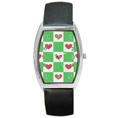 Fabric Texture Hearts Checkerboard Barrel Style Metal Watch