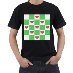 Fabric Texture Hearts Checkerboard Men s T-Shirt (Black) (Two Sided)
