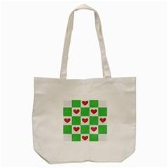 Fabric Texture Hearts Checkerboard Tote Bag (Cream)