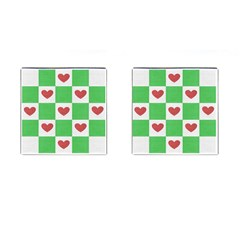 Fabric Texture Hearts Checkerboard Cufflinks (Square)