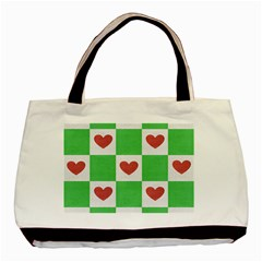 Fabric Texture Hearts Checkerboard Basic Tote Bag