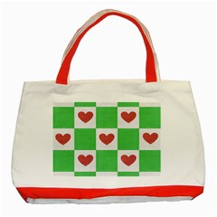 Fabric Texture Hearts Checkerboard Classic Tote Bag (Red)