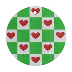 Fabric Texture Hearts Checkerboard Round Ornament (Two Sides)