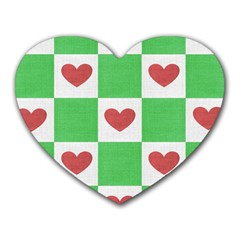 Fabric Texture Hearts Checkerboard Heart Mousepads