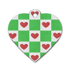 Fabric Texture Hearts Checkerboard Dog Tag Heart (Two Sides)