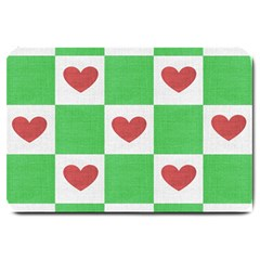 Fabric Texture Hearts Checkerboard Large Doormat