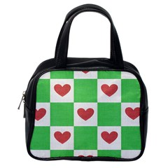Fabric Texture Hearts Checkerboard Classic Handbags (one Side)
