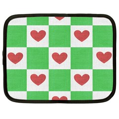 Fabric Texture Hearts Checkerboard Netbook Case (XL)