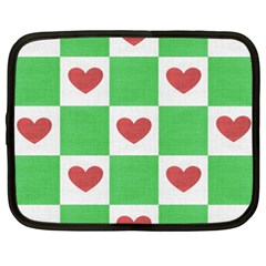 Fabric Texture Hearts Checkerboard Netbook Case (XXL)
