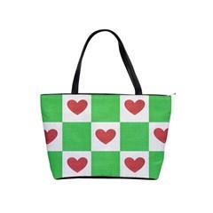Fabric Texture Hearts Checkerboard Shoulder Handbags