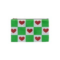 Fabric Texture Hearts Checkerboard Cosmetic Bag (Small)