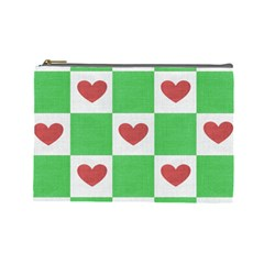 Fabric Texture Hearts Checkerboard Cosmetic Bag (Large)
