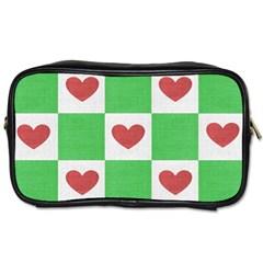 Fabric Texture Hearts Checkerboard Toiletries Bags