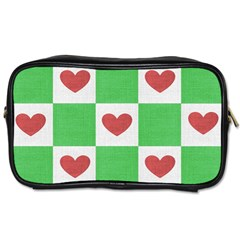 Fabric Texture Hearts Checkerboard Toiletries Bags 2 Side
