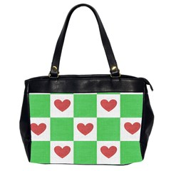 Fabric Texture Hearts Checkerboard Office Handbags (2 Sides)