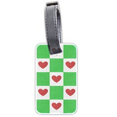 Fabric Texture Hearts Checkerboard Luggage Tags (One Side)