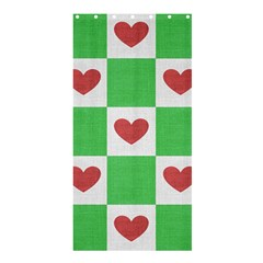 Fabric Texture Hearts Checkerboard Shower Curtain 36  x 72  (Stall)