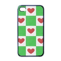 Fabric Texture Hearts Checkerboard Apple iPhone 4 Case (Black)