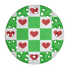 Fabric Texture Hearts Checkerboard Ornament (Round Filigree)