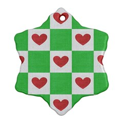 Fabric Texture Hearts Checkerboard Snowflake Ornament (Two Sides)