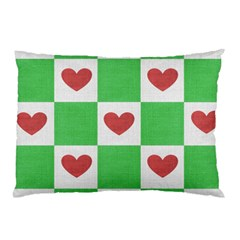 Fabric Texture Hearts Checkerboard Pillow Case (two Sides)