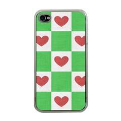 Fabric Texture Hearts Checkerboard Apple iPhone 4 Case (Clear)