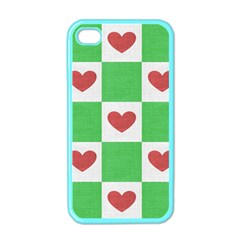 Fabric Texture Hearts Checkerboard Apple iPhone 4 Case (Color)