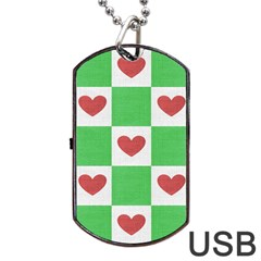 Fabric Texture Hearts Checkerboard Dog Tag USB Flash (Two Sides)