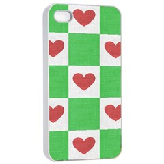 Fabric Texture Hearts Checkerboard Apple iPhone 4/4s Seamless Case (White)