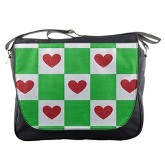 Fabric Texture Hearts Checkerboard Messenger Bags