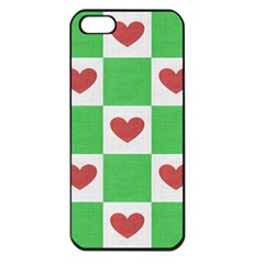 Fabric Texture Hearts Checkerboard Apple iPhone 5 Seamless Case (Black)
