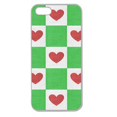 Fabric Texture Hearts Checkerboard Apple Seamless Iphone 5 Case (clear)