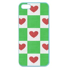 Fabric Texture Hearts Checkerboard Apple Seamless iPhone 5 Case (Color)