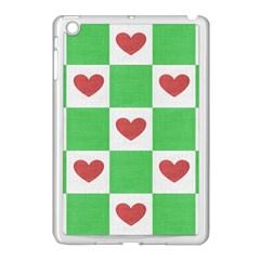 Fabric Texture Hearts Checkerboard Apple iPad Mini Case (White)